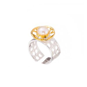 Gold plated Pearl ring / Solitaire sterling silver ring / White pearl open band ring