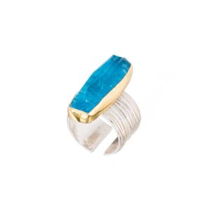 Apatite ring / Gemstone ring / Cocktail apatite ring / Gold plated silver ring