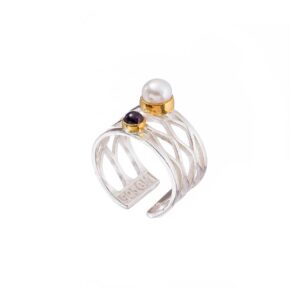 Pearl gold plated ring / Silver ring / Garnet ring / Birthstone open band ring