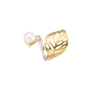Gold plated pearl ring / Solitaire leaf silver ring / White pearl open band ring