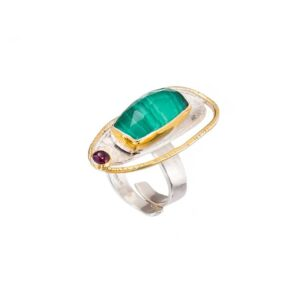 Malachite gold plated silver ring / Statement silver ring / Cocktail garnert ring