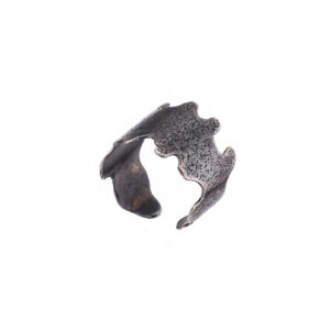 Adjustable ring / Oxidized silver ring / Open band ring / Gift for her / Black ring