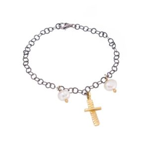 Cross chain bracelet / Pearl chain bracelet / Gold plated cross bracelet