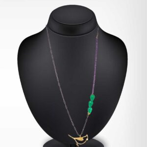Parrot chain necklace / Bird chain necklace / Gemstone chain necklace