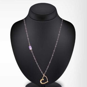 Gold plated heart chain necklace / Oxidized chain necklace / Amethyst chain necklace