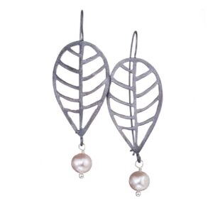 Dangle earrings / Pink pearl earrings / Oxidized silver earrings / Leaf earrings