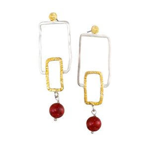 Stud earrings / Coral earrings / Silver earrings / Gold plated earrings