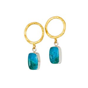 Gold plated silver stud earrings / Chrysocolla earrings / Doublet stone earrings