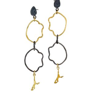 Dangle earrings / Gold plated silver earrings / Oxidized earrings / Acrobat earrings