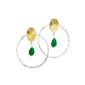 Stud earrings / Jade earrings / Goldplated silver earrings / Multicolor round earrings