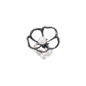 Solitaire oxidized flower ring / Vintage white pearl silver ring / Open band ring