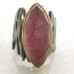 Faceted Rhodochrosite Black and Gold Ring