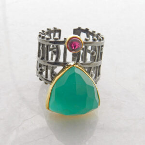 Green Blue Chalcedony Ring