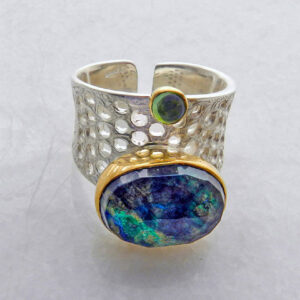 Oval Faceted Azurite-Malachite Ring