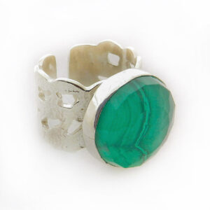 Round Faceted Malachite Ring