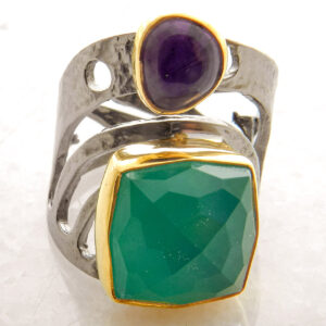 Square Faceted Green Agate Ring With Amethyst