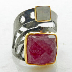 Square Faceted Ruby Ring