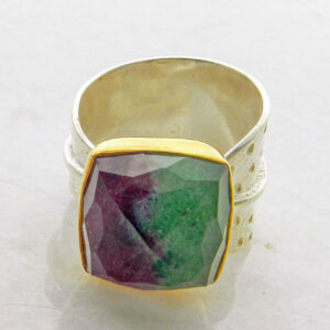 Square Faceted Zoisite Ruby Ring