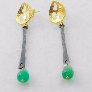 Dangle Earrings with Green Agate