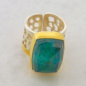 Faceted Chrysocolla Ring