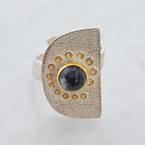 Faceted Hematite Ring