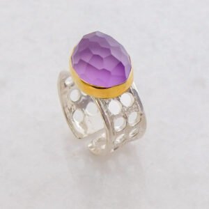 Faceted Oval Amethyst Ring