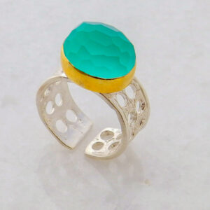 Faceted Oval Green Blue Chalcedony Ring