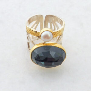 Faceted Oval Hematite Ring