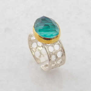 Faceted Oval Malachite Ring