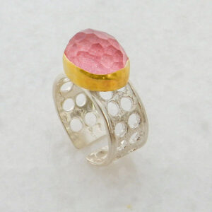 Faceted Oval Rhodochrosite Ring