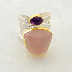 Faceted Pink Quartz Ring