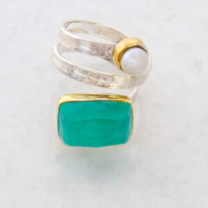Faceted Rectangle Blue Green Chalcedony Ring
