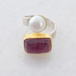 Faceted Rectangle Ruby Ring