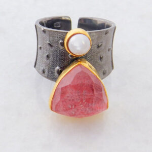 Faceted Rhodochrosite Statement Ring