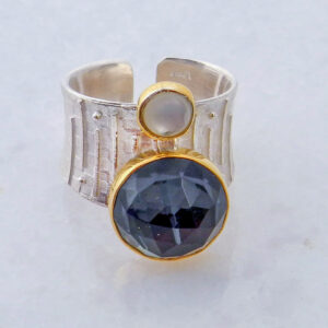 Faceted Round Hematite Ring