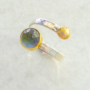 Faceted Round Labradorite Ring