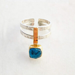 Faceted Square Apatite Ring