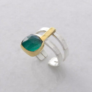 Faceted Square Malachite Ring