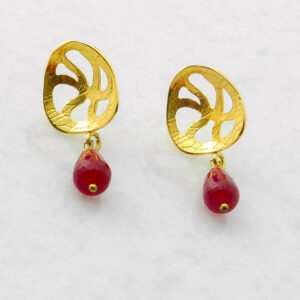 Gold Plated Silver Earrings with Agate Ruby