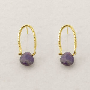 Gold Plated Silver Earrings with Amethyst