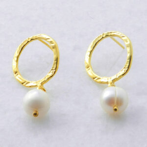 Gold Plated Silver Earrings with Pearls