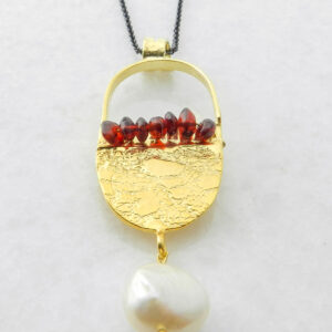 Gold Plated Silver Pendant with Garnet