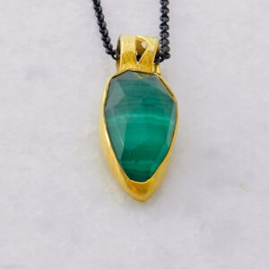 Gold Plated Silver Pendant with Malachite