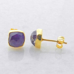Gold Plated Silver Stud Earrings with Amethyst