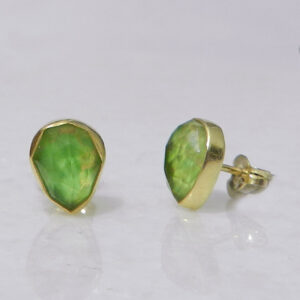 Gold Plated Silver Stud Earrings with Green Copper Turquoise