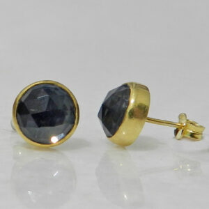 Gold Plated Silver Stud Earrings with Hematite