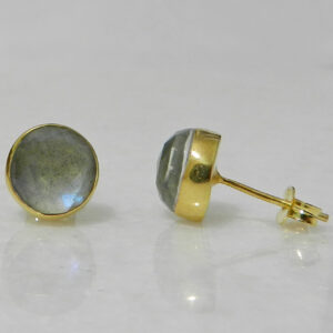 Gold Plated Silver Stud Earrings with Labradorite