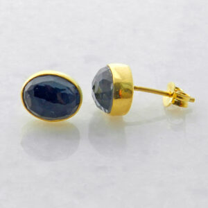 Gold Plated Silver Stud Earrings with Oval Hematite