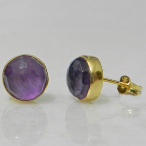 Gold Plated Silver Stud Earrings with Round Amethyst