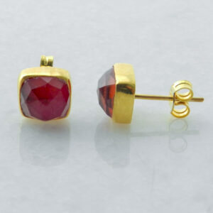Gold Plated Silver Stud Earrings with Ruby Root